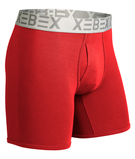 Xebex Modal Boxer Brief Ghost Mannequin Image firehouse red