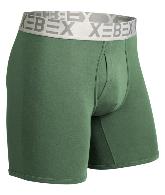 Xebex Modal Boxer Brief Ghost Mannequin Image evergreen